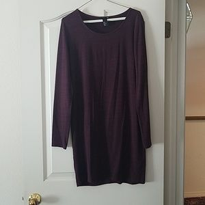 H&M Long Sleve Basic T-Shirt Dress in Plum
